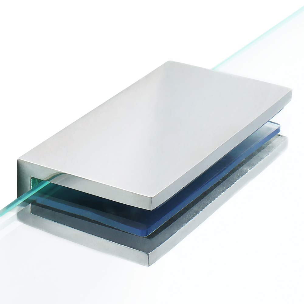 Alise BL2000-2P Adjustable Frameless Rectangle Glass Shelf Bracket Holder Heavy Duty Clamp Shelf Clip,SUS 304 Stainless Steel Polished Chrome 2 Pcs
