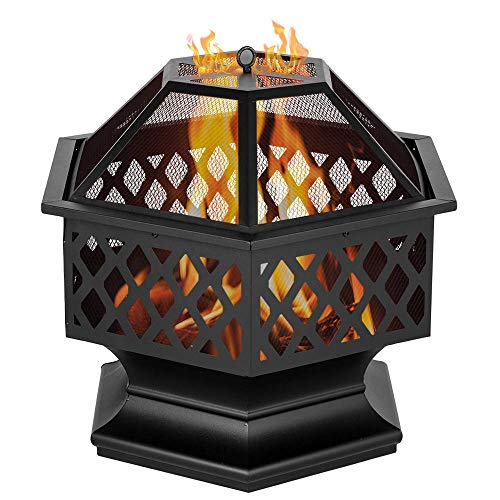 Binlin Fire Pit,Outdoor Heavy Steel Hex Shape 24