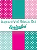TURQUOISE & PINK POLKA DOT PATTERN PACK of Craft Vinyl Pack Scrapbook Supplies