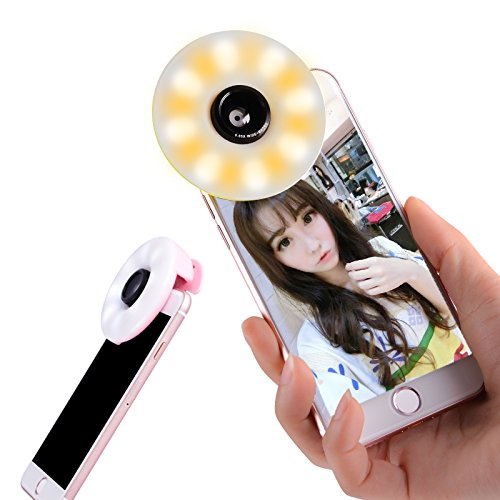 Fangu Selfie Ring Light for Camera [Rechargeable Battery] Selfie LED Photo Lighting with Wide Angle Lens for iPhone iPad Samsung Galaxy Other Smartphones(Black)