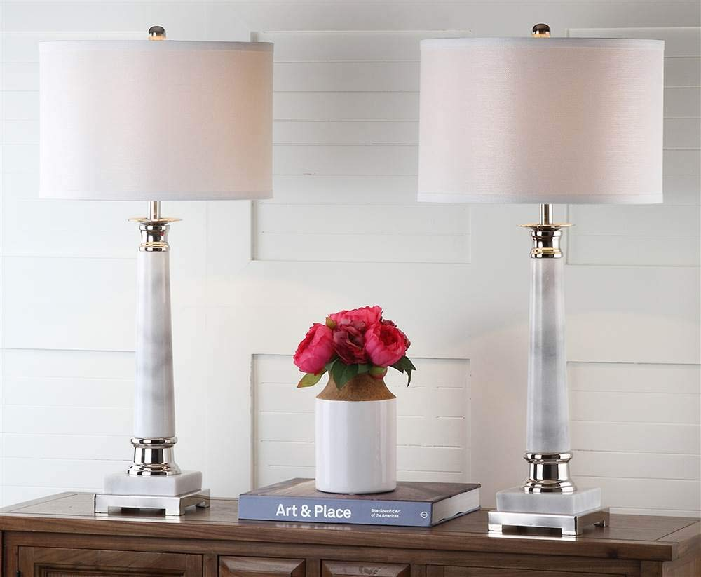 """Safavieh Lighting Collection Colleen White Marble Table Lamp (Set of 2), 31"""""""