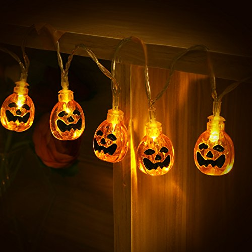 Halloween Lights - Halloween String Lights, YUNLIGHTS 13ft 30 LED Waterproof 3D Pumpkin Lights with 8 Modes, Battery Powered, Warm White
