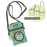 Chala Crossbody Cell Phone Purse-Women PU Leather Multicolor Handbag with Adjustable Strap (Aqua-SeaTurtle)