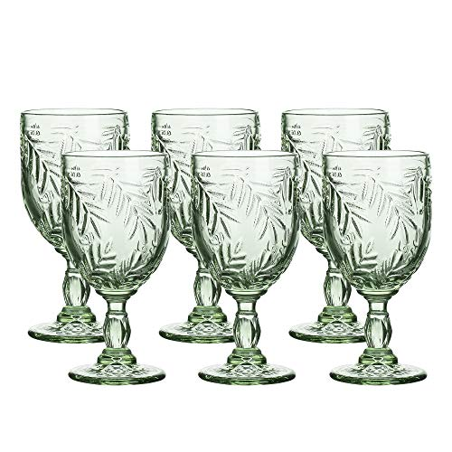 Green Glass Goblet - Coloured Glass Goblet Vintage - Inspired Pattern Glass Wedding Goblet - 8.5 Ounce Set of 6 (Green)