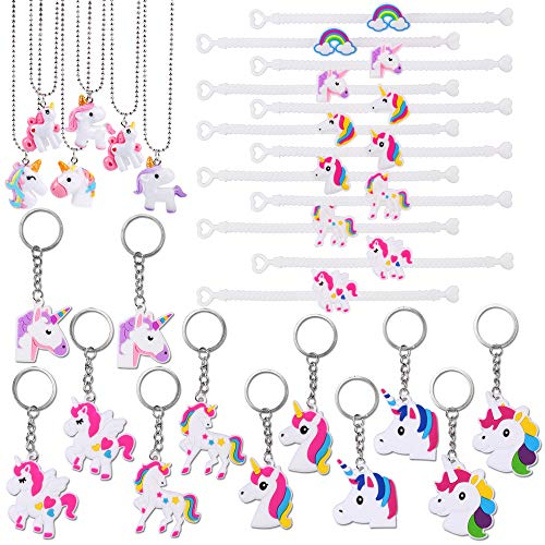 Konsait Unicorn Party Supplies, Unicorn Keychain Bulk(12pcs) Unicorn Bracelet Kit(12pcs) Unicorn Necklace(6pcs) Toys Prizes Gifts for Kids Girls Boys Women Backpacks for Unicorn Birthday Party ()