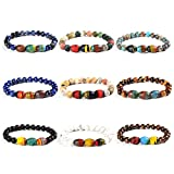 Autumn Design Round And Drum Shape Gemstone Bead Stretch Bracelet (Style 9 Pcs)