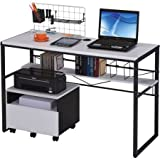 Office Computer Desk with Lower Shelf, Wire Management, Modern Style, Sturdy Metal Construction, Workstation, Rectangle Shape, Workspace, College Dorm, Black Color
