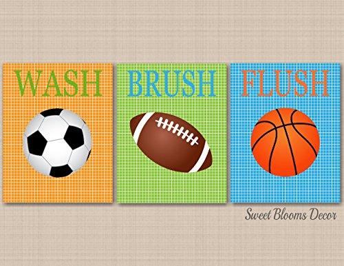 Sports Bathroom Decor,Kids Sports Bathroom Wall Art,Soccer Football Baseball Basketball Bathroom,Boy Sports Bathroom,Sports Nursery Decor-UNFRAMED Set of 3 PRINTS (NOT CANVAS) B133