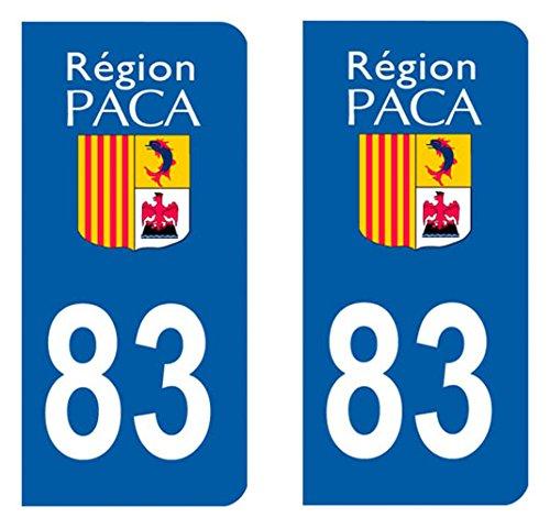 Paire sticker immatriculation 83 - Var Autocollant-immatriculation