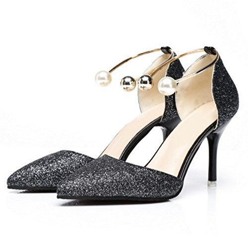 COOLCEPT Women Novelty Ankle Strap Slip On Sandals Stiletto Closed Pointed Toe Shoes Size Black Rasup1