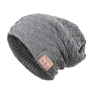 ceed58eab6b809 Bluetooth Slouchy Beanie Music Hat Winter Knit Hat Cap Wireless Headphone  Musical Speaker Beanie Hat