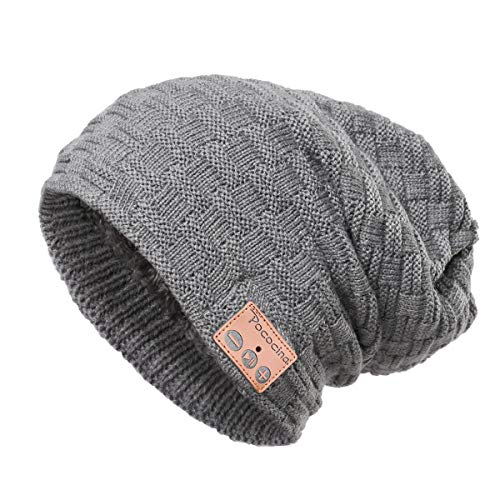 Blue Hat Radio - Pococina Upgraded 4.2 Bluetooth Beanie Music Hat Winter Knit Hat Cap Wireless Headphone Musical Speaker Beanie Hat as Christmas Birthday Gifts for Men Women Teen Girls Boys, Built-in Mic - 028 Gray