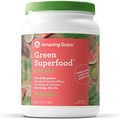 Amazing Grass Energy Green Superfood Organic Powder, Natural Caffeine with Wheat Grass, 7 Greens, Yerba Mate and Matcha Green Tea, Flavor: Watermelon, 100 Servings ()