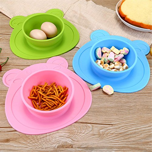 LtrottedJ Kids One Piece Silicone Placemat Plate Dish Food Tray Table Mat for Baby Toddler (Pink)]()