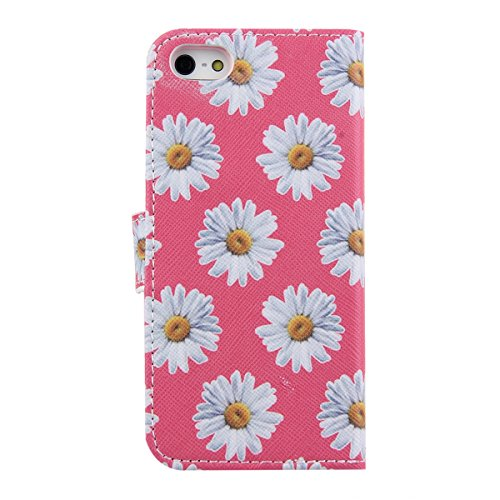 Funda para iPhone 6 6s, Flip funda de cuero PU para iPhone 6 6s, iPhone 6 6s Leather Wallet Case Cover Skin Shell Carcasa Funda, Ukayfe Cubierta de la caja Funda protectora de cuero caso del soporte b Crisantemo Rose