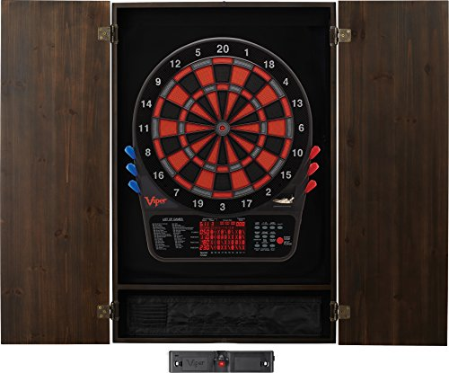 Viper Metropolitan Solid Wood Cabinet & Electronic Dartboard Ready-to-Play Bundle: Elite Set (800 Dartboard, Darts and Laser Throw Line), Espresso Finish