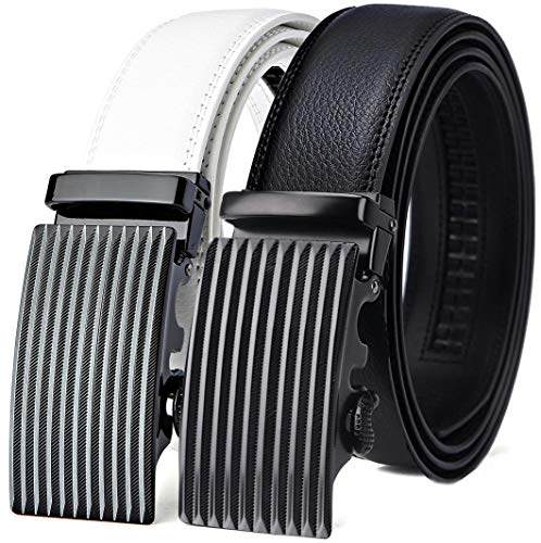 (Mens Belt,Bulliant Leather Ratchet Click Belt for Men Father's Gift,Size Adjustable,2 Units Gift-Boxed)