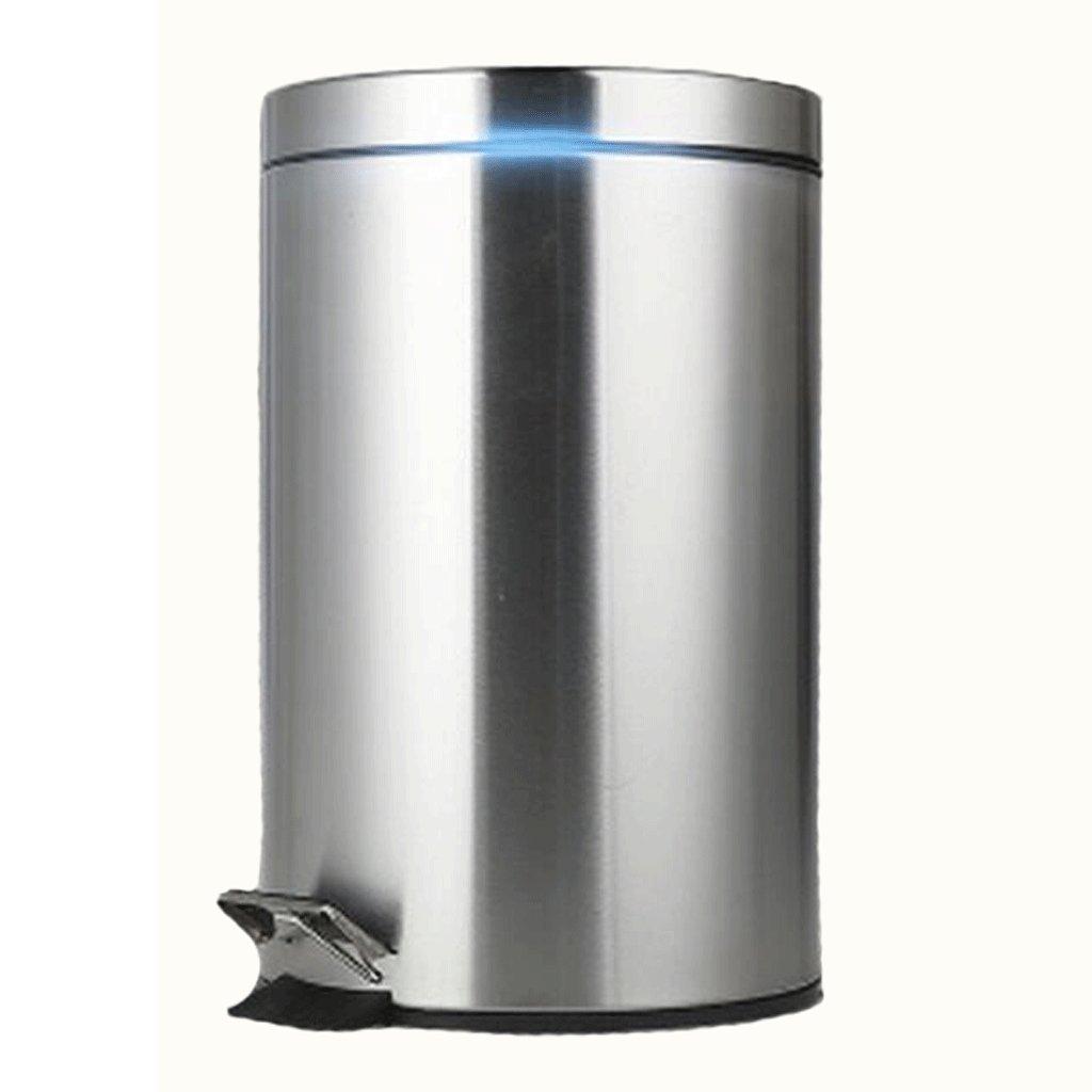 QX Poubelle IAIZI Cubo de Pedal Cubo de Basura (Color de Acero Inoxidable (Color Basura : Metalico, Tamaño : 8l) 94de81