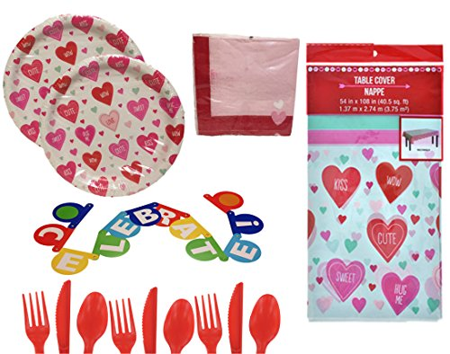 Red Hearts Party Supplies For 16 - Candy Heart Plates, Pink Napkins, Red Utensils, Cute Tablecloth - Valentine's, Baby Shower, Birthday, Classroom, Office, Home, Church - Boys, Girls, Adults