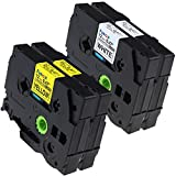 Fimax 2 set Compatible Brother TZe-231 TZe-631 TZe231 TZe631 P-touch Label Tape 12mm 1/2 Inches (0.47'') Black on White/Yellow Standard Laminated Tape TZ-231 TZ-631