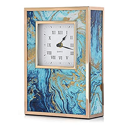 Hangood Decorative Desk Clock Table Clocks for Office Desk for Home Shelf Clock (Blue) - Unique Design:Ideal desk clocks body decorated with colorful pattern.Wonderful addition to your bedroom, living room, Perfect for home decor or gift. Superb Quality:Metal desk clocks decorative adopts durable metal frame, sturdy than plastic.Skid resistance without scratches on furniture. Best Gift Idea:Gorgeous gift for the one who appreciates exclusive-looking home decor items as gift for birthday, christmas, thanksgiving, wedding registry, housewarming. - clocks, bedroom-decor, bedroom - 51 hAHXWBUL. SS400  -