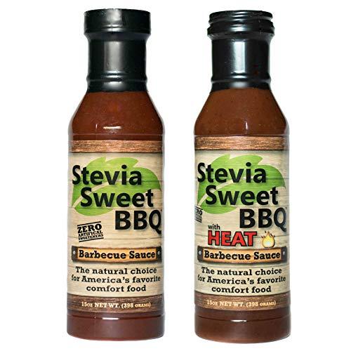 Stevia Sweet BBQ Sauce | Low Sugar (1g), Low Carb, Low Sodium, Gluten & Fat Free | Paleo & Keto Diet Friendly Barbecue Sauce | Zero Artificial Sweeteners (2 x 15 oz (1 Spicy + 1 Original))