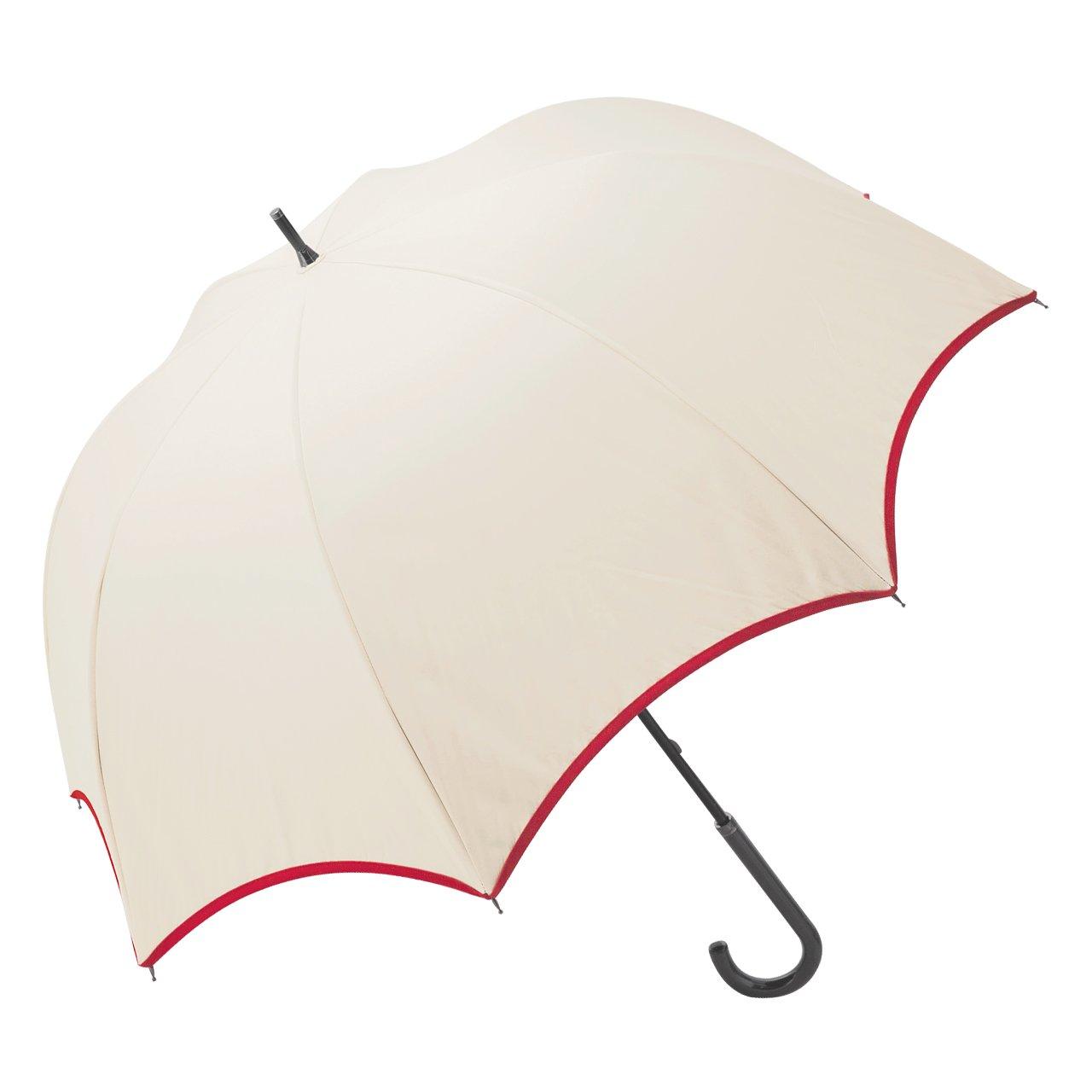 【Rose Blanc】100%完全遮光 晴雨兼用 涼感 パイピング ラージサイズ 60cm (ベージュ×レッド) B06XTGVYY5 ベージュ×レッド ベージュ×レッド