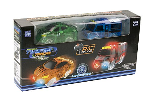 Mindscope Twister Tracks Set of 2 Radio Control RC Add-on Cars with 2 Remote Controls Race Car + Police Van