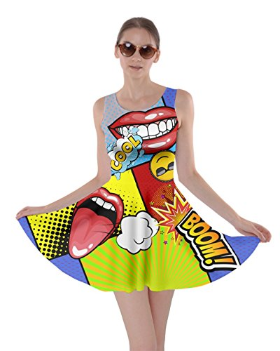 CowCow Womens Colourful Cool Pop Art Skater Dress, Art - -