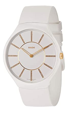 86094dd7b Image Unavailable. Image not available for. Color: Rado True Thinline White  Dial Silicone Strap Ladies Watch R27957709