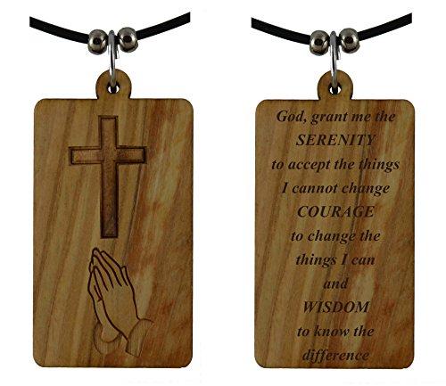 - Serenity Prayer on Holy Land Olive Wood Cross Pendant-Necklace