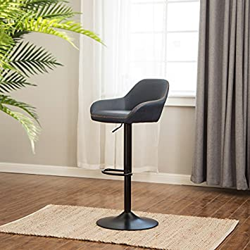 Glitzhome Mid Century Style Adjustable Swivel Bar Stool with Back Support Dining Chairs Dark Blue Set of 2