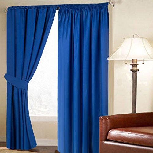 Linens Limited - Cortinas de galón fruncido - Opacas y con propiedades térmicas - Azul - 229 x 229 cm: Amazon.es: Hogar