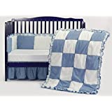 BabyDoll Gingham/Eyelet Patchwork Crib Bedding Set, Blue