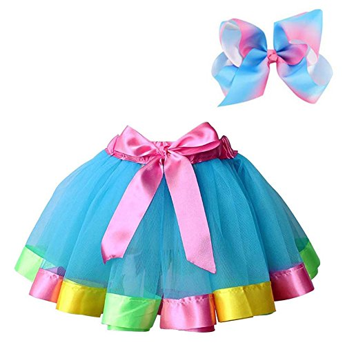 Bingoshine Layered Ballet Tulle Rainbow Tutu Skirt for Little Girls Dress Up with Colorful Hair Bows (Blue Rainbow, M,2-4 -