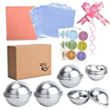 WEBSUN Metal Bath Bomb Molds Set 77 Pcs 3 Sizes 12 Pieces with Gift Bow- Perfect Bath Molds for Making Bath Bombs DIY Bath Fizzies