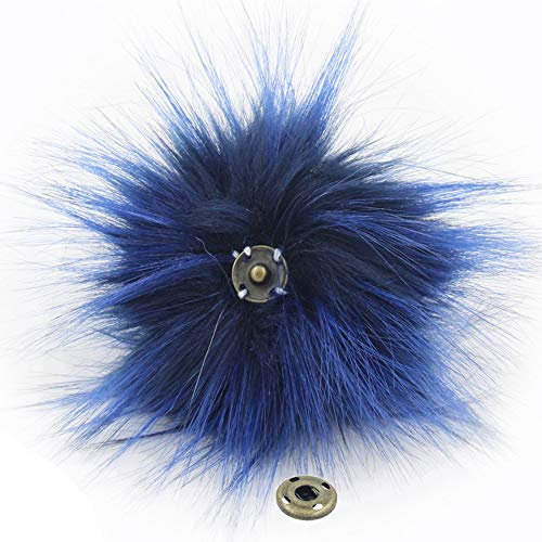 SUSULU Pack of 12 Faux Raccoon Fur Pompoms with Press Button for Knitting Hats (Navy Blue) -  furling, FR11NB1*12
