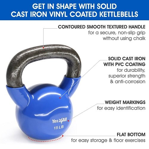 Yes4All Vinyl Coated Kettlebell Weights Set - Great for Full Body Workout and Strength Training - Vinyl Kettlebell 15 lbs by Yes4All (Image #3)