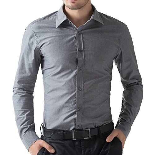 Dark Gray Dress Shirt - Paul Jones Mens Shirts Fashion Men's Wedding Shirts Solid Colar(3XL, Gray 52-4)