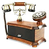 Retro Vintage Antique Style Phone Dial Desk Telephone With Bluetooth Speaker And Aux Input Home Living Room Decor - Wood By Pyle - Regular Corded Phone (PVNTL53BT)