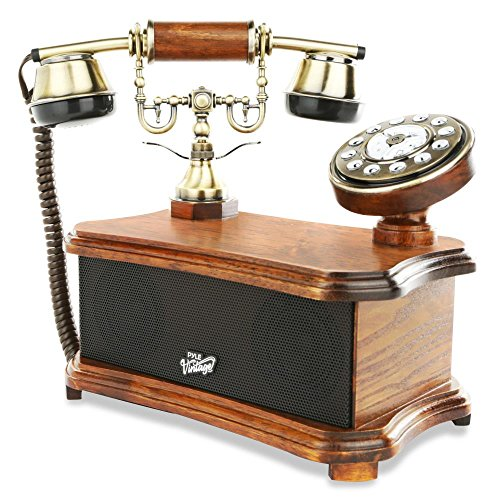 2-in-1 Retro Style Vintage Telephone - Rotary Decorative Phones Dial Desk w/ Bluetooth Speaker, Landline, Old Antique Home Living Room Decor, Birch Wood Brushed Copper, Corded Phone - Pyle PVNTL53BT