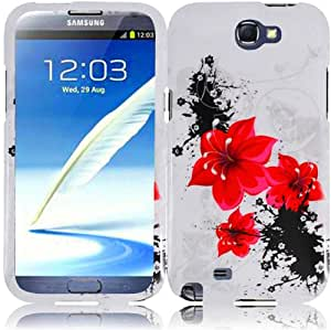 For Samsung Galaxy Note 2 II N7100 Hard Design Cover Case Red Lily Accessory