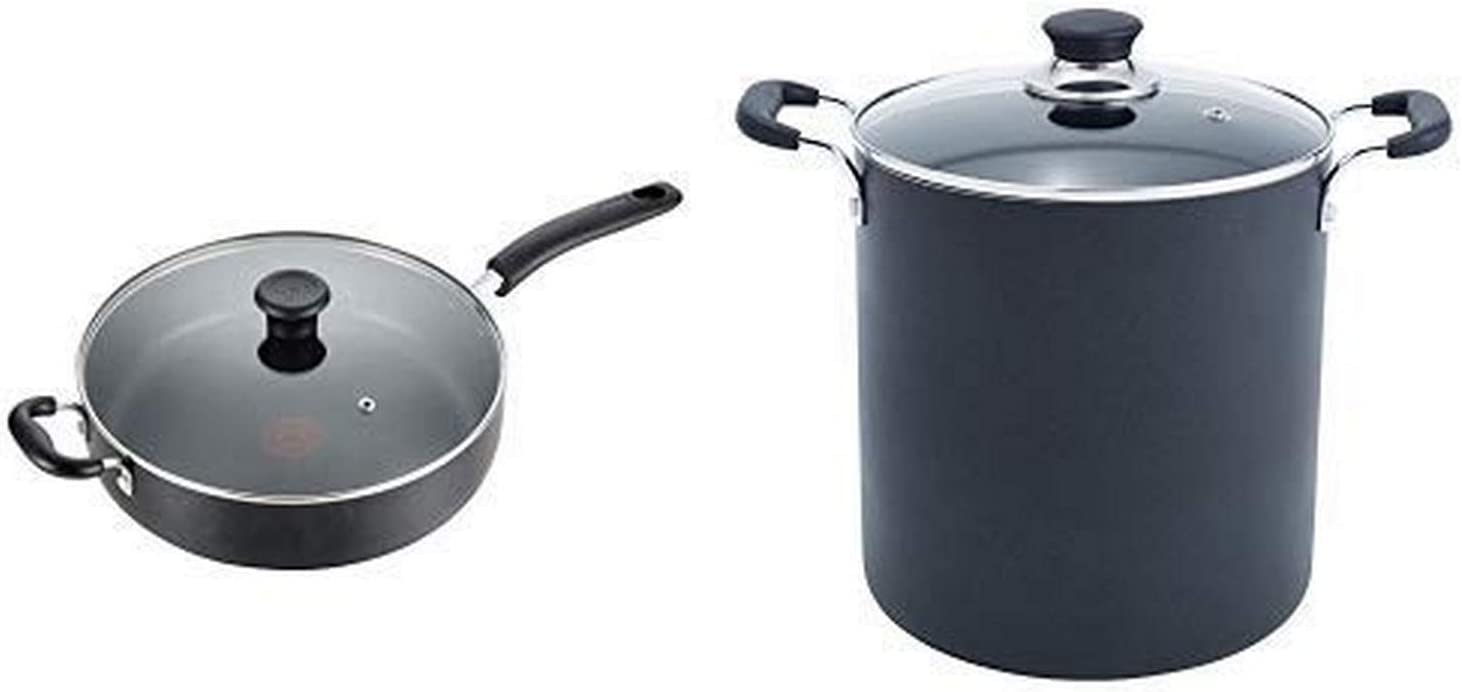 T-fal B36290 Specialty Nonstick 5 Qt. Jumbo Cooker Sauté Pan with Glass Lid, Black AND T-fal B36262 Specialty Total Nonstick Dishwasher Safe Oven Safe Stockpot Cookware, 12-Quart, Black