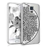 kwmobile Crystal TPU Silicone Case for Samsung Galaxy S5 / S5 Neo / S5 LTE+ / S5 Duos in Design Indian half-flower black transparent