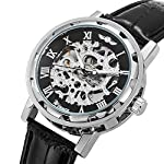Men's Watch, Mechanical Skeleton Steampunk Design Automatic Self-Winding Roman Numeral Silver Case PU Leather Wrist… 9