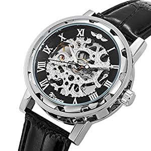 Men's Watch, Mechanical Skeleton Steampunk Design Automatic Self-Winding Roman Numeral Silver Case PU Leather Wrist Watch