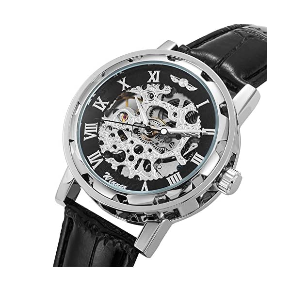Men's Watch, Mechanical Skeleton Steampunk Design Automatic Self-Winding Roman Numeral Silver Case PU Leather Wrist… 4