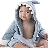 Baby Boys/Girls Bathrope, Hooded Dressing Gown Supersoft Absorbent Cartoon Animal Flannel Sleepwear Nightwear Terry Towelling Bath Rope For Kids 0-3 Years (2-3 Years, Blue Shark)
