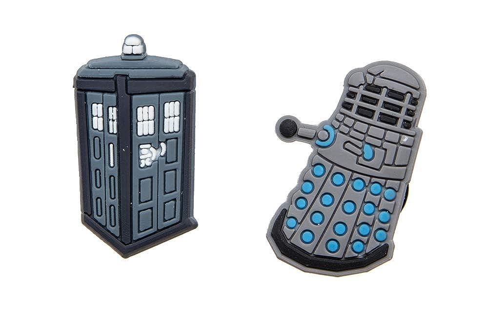 2 Dr Who Tardis /& Dalek Shoe Charms For Crocs /& Jibbitz Wristbands