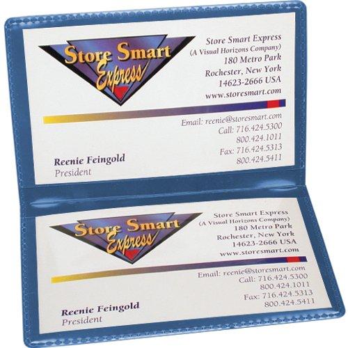 StoreSMART Metallic Blue Folding Business Card Holders - 10 pack - Polypropylene Plastic (RPP2915MB10) (Metallic Business Cards)